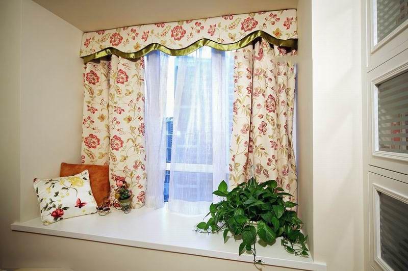 田园风格卧室欧式飘窗窗帘装修效果图
