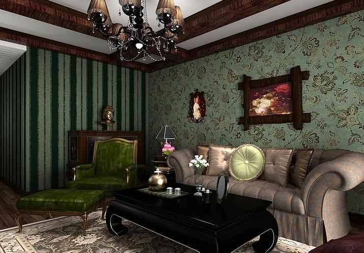 2017绿色墙面装修欧式古典客厅效果图