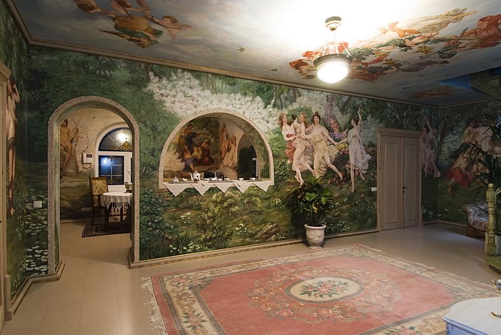 原始森林风格瓷砖方块点花色大块地毯过道装修效果图
