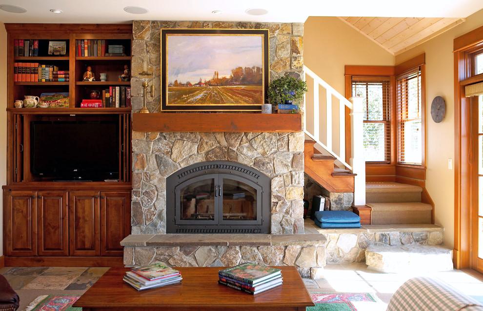 现代别墅砌石式欧式壁炉起居室设计效果图