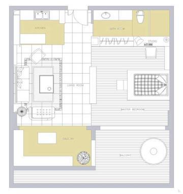 现代混搭风格一居室设计