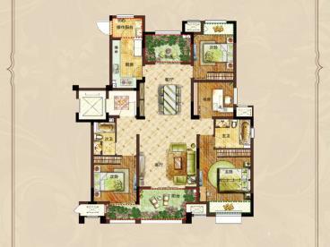 常州常发广场-中式风格-四居室-装修案例