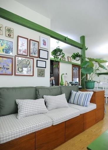 绿蓝灰色调设计浪漫田园四居