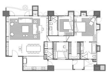 天誉花园-现代简约-四居室-装修案例