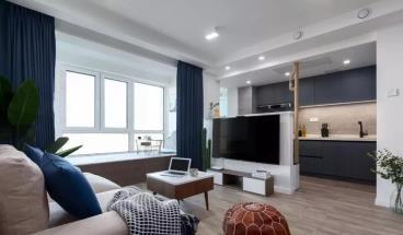 68㎡时尚现代北欧风格装修效果图,可爱蓝色系两居室!