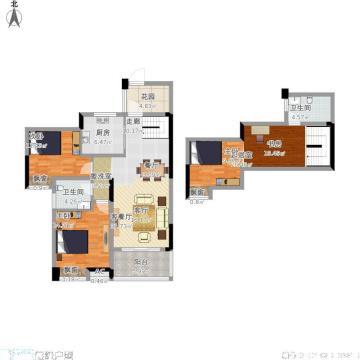105平简欧风格复式设计装潢图