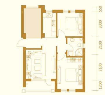 新古典装修设计三室两厅图