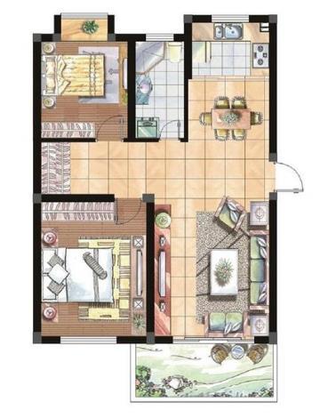 简欧华丽三室一厅装修设计图片